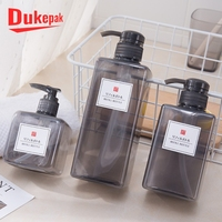 Hotel use 250ml 400ml square grey clear PET plastic shampoo bottle