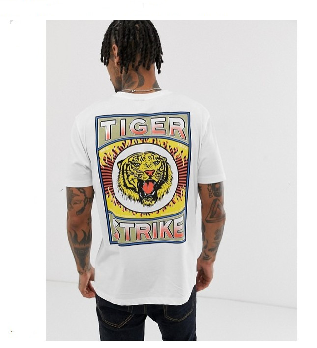 Tiger Print Mens Loose Casual Cut And Sew Sublimation Custom Streetwear Men's Heavy TShirt