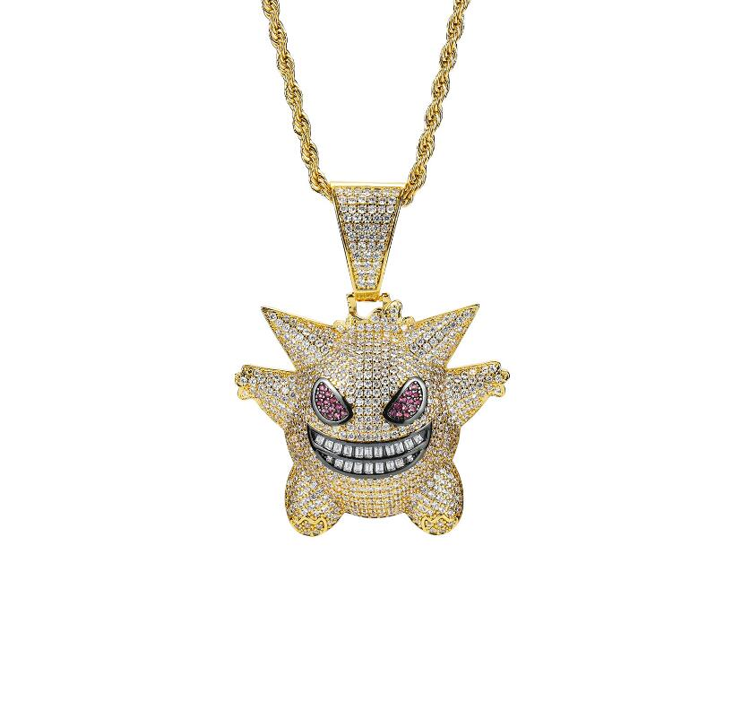 <strong>Fashion</strong> Full CZ Devil Hiphop Pendant Men Pokemon Jewelry Necklace