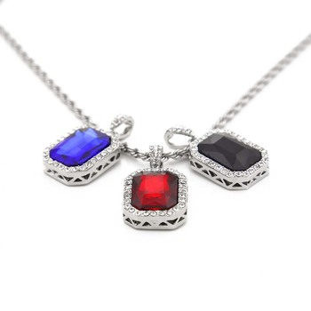 AP22535 Custom wholesale cheap mens hip hop necklace jewelry mini ruby pendants dropshipping