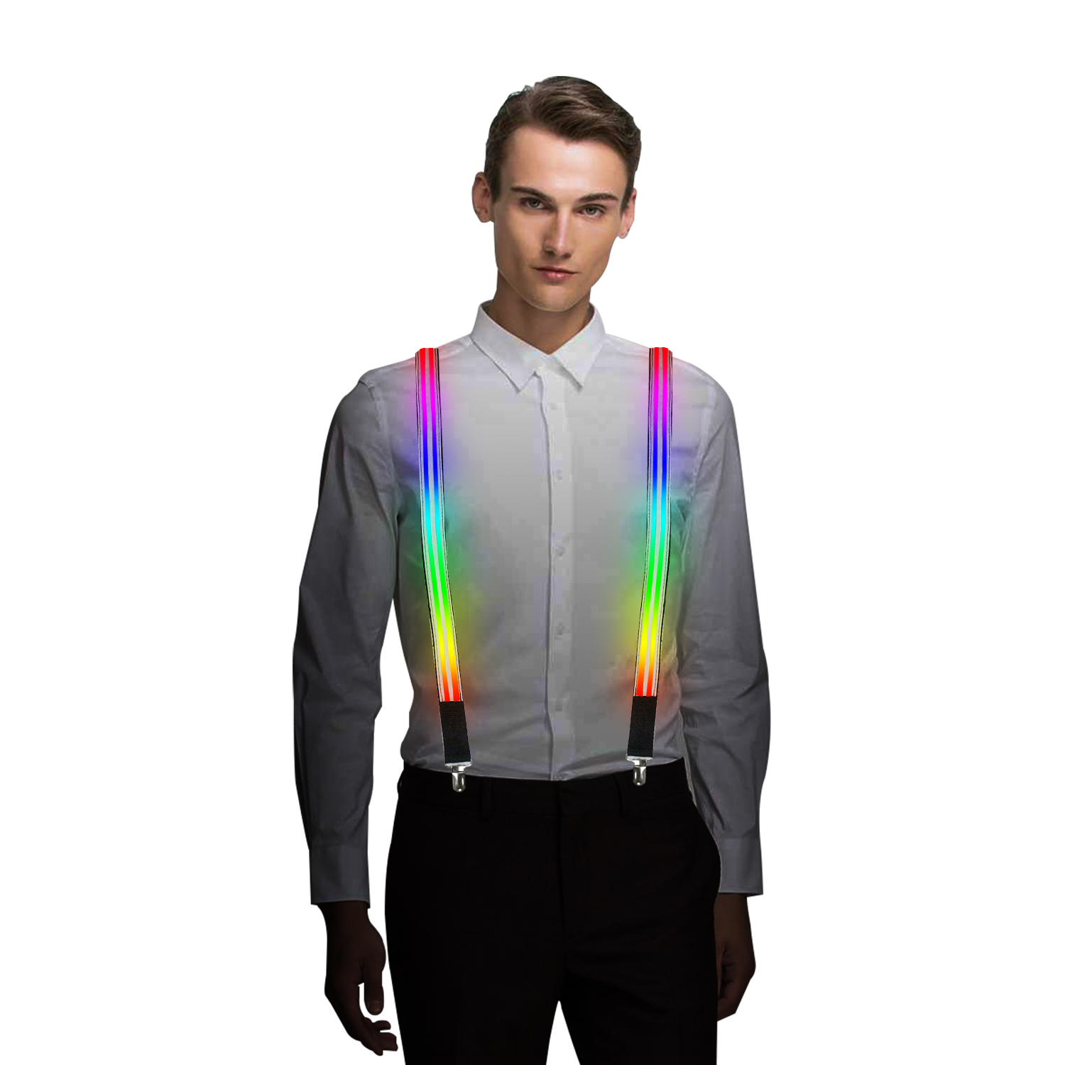 BLUE LED Light Up Glowing Suspenders Men Suit Costume USB Rechargeable Party