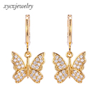 2020 18k gold plated cubic zirconia brass drop earrings butterfly