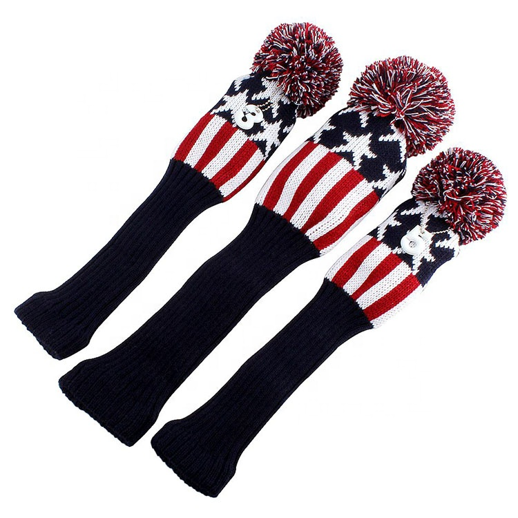 3 pcs Golf Club Set Headcover Lange Hals Gebreide Pom Pom Golf Hout Headcover Voor Driver Fairway Wood