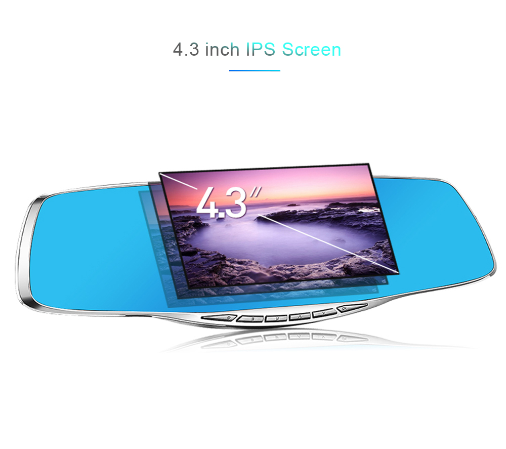 Zimtop Shenzhen Factory 1080P 4.3inch dual lens silver color rearview mirror car security camera