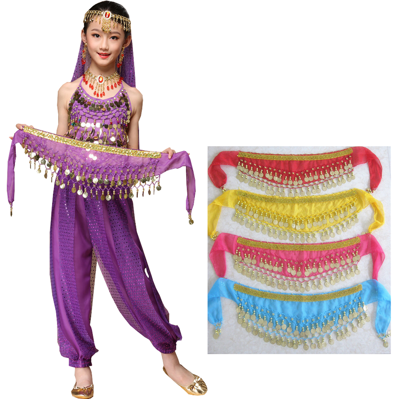 Hot sale Kid Size Sequin <strong>Tribal</strong> Sash Skirt w/Coin Belt For <strong>Belly</strong> <strong>Dance</strong>