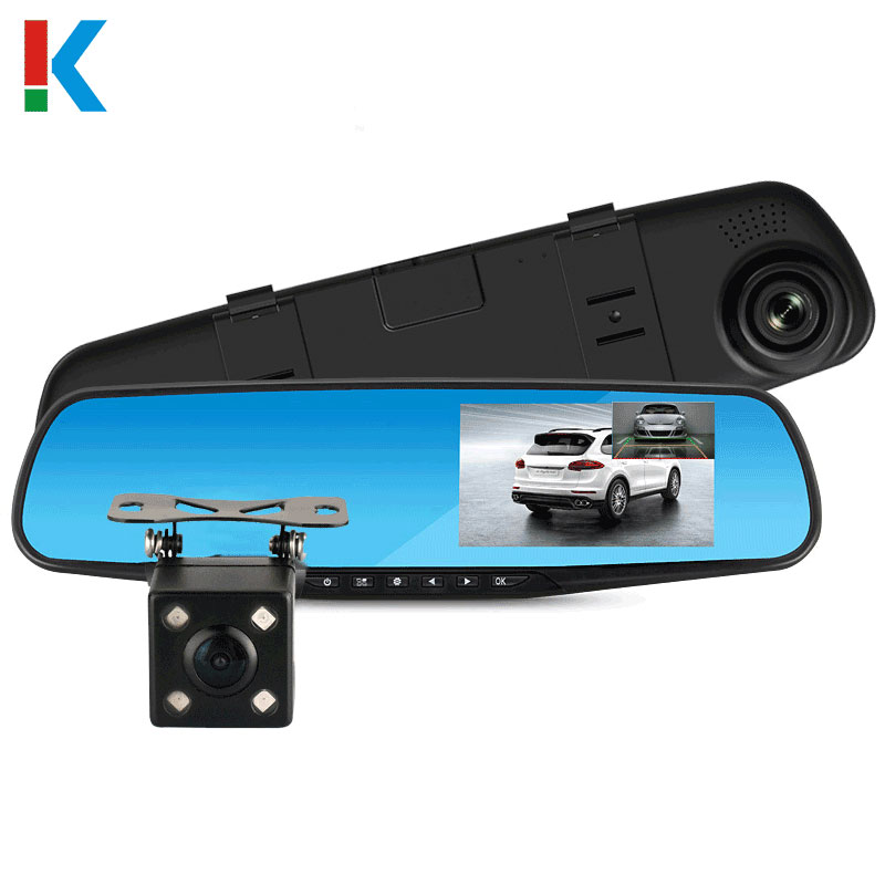 Full HD 1080 P Câmera Do Carro Dvr Auto Espelho Retrovisor de 4.3 Polegadas Digital Video Recorder Dual Lens Camcorder Registratory