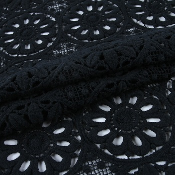 Widely used black swiss cotton lace fabric dubai chemical lace embroidery fabric