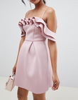 Young lady strappy Ruffle Prom Mini Dress