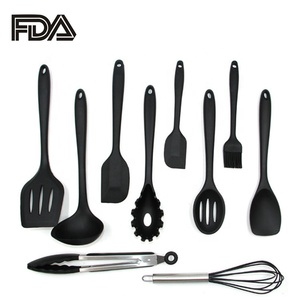 Eco-friendly Non-Stick 10 Piece Silicone Kitchen Utensil Set Cooking Tools