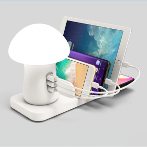 laptop charger LED mushroom lamp with 3 USB fast charger stand qi wireless charger for all mobile phones