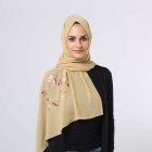 Wholesale hot sale fashion bubble chiffon muslim hijab with beautiful gold flower printing islam scarf malaysia