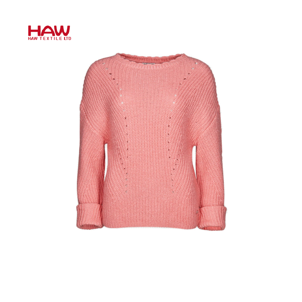 Women sweater knitted regular Sleeve o neck Solid girl Sweater Pullover