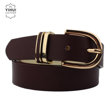 Superior Quality Girl Flat Strap Metal Loop Round Buckle Slim Women Belt