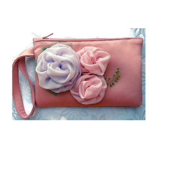 wristlet clutch Blush pink Pastel evening bags, clutch bag with flower