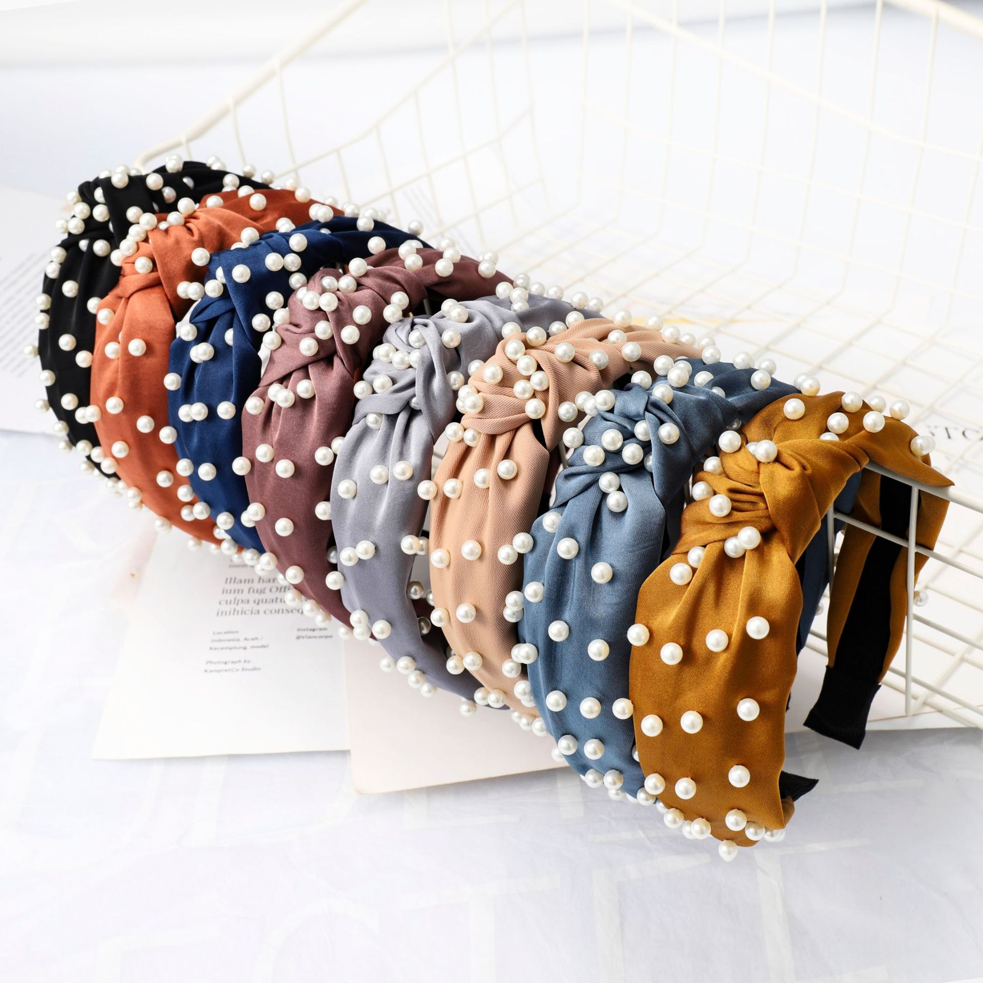 LRTOU Wholesale Korea Fashion Womens Head Band Accessories Custom Women Tie Knot Pearl Elastic <strong>Headband</strong> For Girls