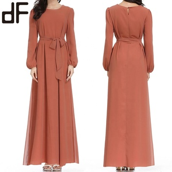 custom oem clothing muslim women dress islamic plain dyed chiffon abaya muslim maxi dress