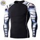 High Quality Custom Gym man long sleeve Sublimation Print compression fitness sport t shirt