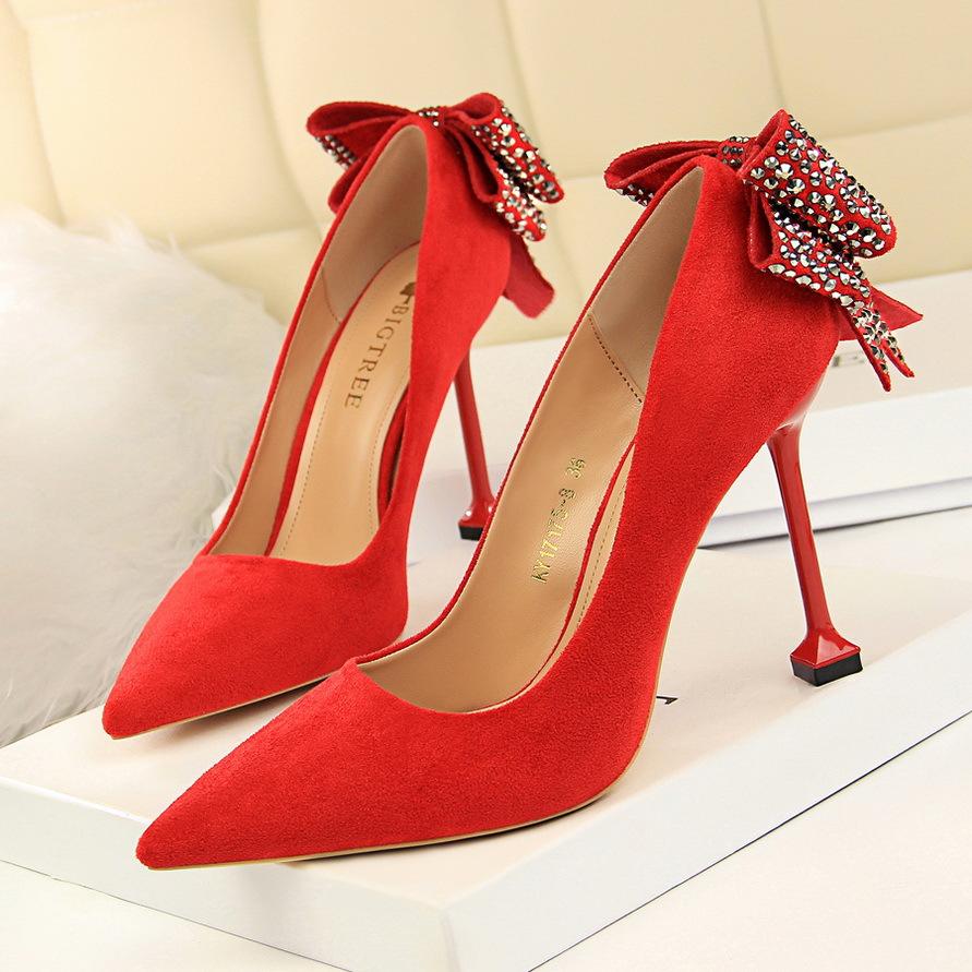 6b0e1340bf XL0914 Baratos Bonito Arco Nó de Casamento Nupcial Sapatos de Salto Alto Do  Dedo Do Pé