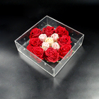Customized perspex flower case square acrylic display gift rose box