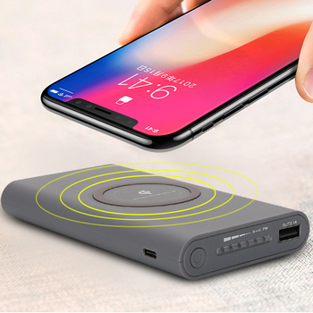 Custom logo 10000mAh Qi wireless powerbank charger for iPhone & Android phone
