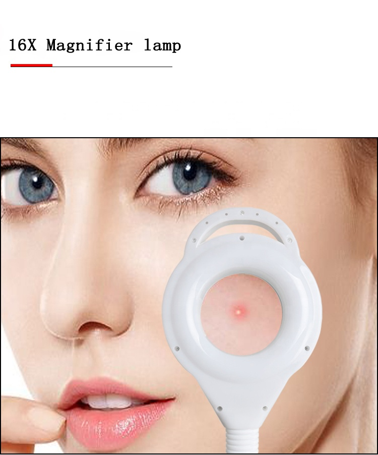 D White Magnifying Lamp Led Cool White Flexible Beauty Nail Microblading Hair Salon Floor Lamp For Permanent Makeup With Wheel