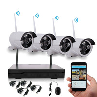 H.265 long range 4ch 1080P CCTV Security P2P WiFi IP Network DVR Combo kit System 4 Wireless back up outdoor IR Camera NVR Kit