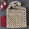 natural wood color wood beading bag shoulder bag OEM acceptable