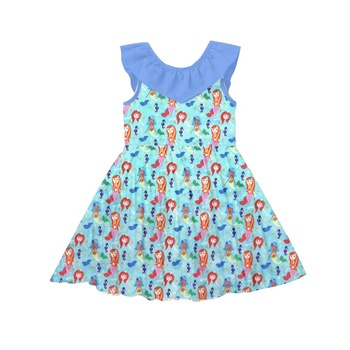 Latest boutique girls kids frocks designs Mermaid pattern girl dresses birthday party frocks for girls