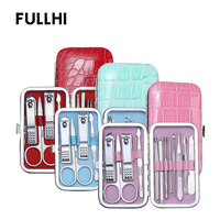 Nail Clipper File Nail Care Tool Kit Cuticle Pedicure Manicure Tools Mini 12 PCS/Set Manicure set with Bright Color Pattern Case