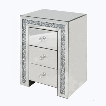 quality design 9c332 ed052 Coolbang Diamond Crush Mirror Glass Bedside Table With Drawers - Buy Bed  Side Table,Nightstand,Mirrored Bedside Table Product on Alibaba.com