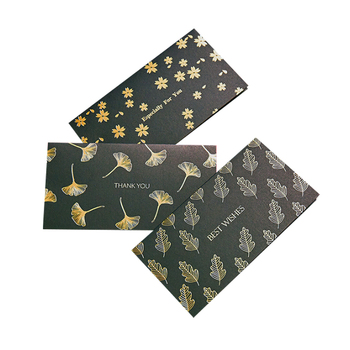 Free Sample Black Background Gold Leaf Ginkgo Leaf New Year Greeting Envelope Set Gift Card Printer