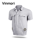 Vinmori 2019 Summer Unisex air conditioned shirts Short Sleeves uniform With Two Fans for work