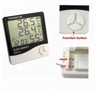 Digital Thermometer Hygrometer HTC-2 Weather Station Alarm Clock Indoor Room LCD Electronic Temperature Humidity Meter