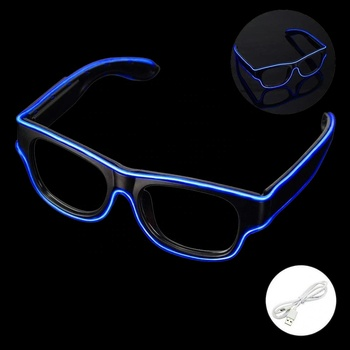 Accept Custom Printing Logo LED Lighting EL Wire Glasses For Wedding Party Supplies 10 Colors stock EL USB Glasses  for Sale