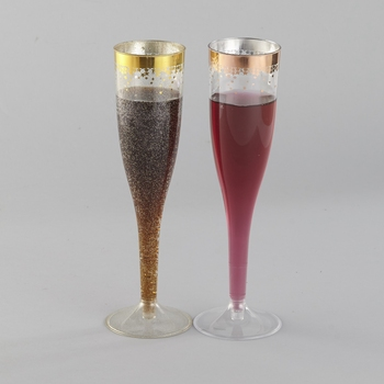 Gold Glitter Plastic Champagne Flutes 6.5 Oz Clear Plastic Toasting Glasses/ Disposable Wedding Party Cocktail Cups