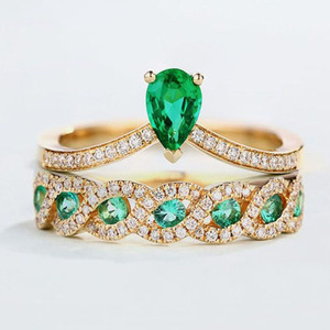 DILAFU Emerald Zircon Two-piece Crown Ring 18k Gold Jewelry Green Gemstone Men's Ring