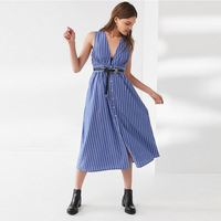 Women Summer Clothing Striped Button-Down Plunging Midi Dress