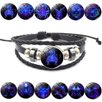 12 Zodiac Bracelet Constellations Mens Bracelets beaded Handmade Charm Leather Bracelet Punk Rock Women Jewelry