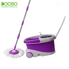 premium home cleaning adjust handle spin rolling mop with big wheel and water drainage