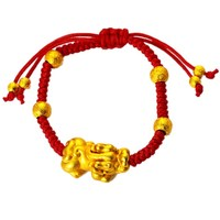 Pixiu+Women's fashion accessories 24k gold plated red rope charm handmade bracelet