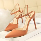 XL0891 Hot young fashion Sexy Taupe Pointy Toe Single Sole High Heels Faux Suede shoes