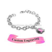 Stainless steel awareness breast cancer Enamel pink ribbon bracelet