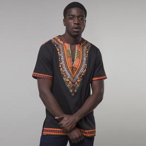 Custom High Quality African Clothing Mens Summer Cotton Short Sleeve V neck Printed T shirts