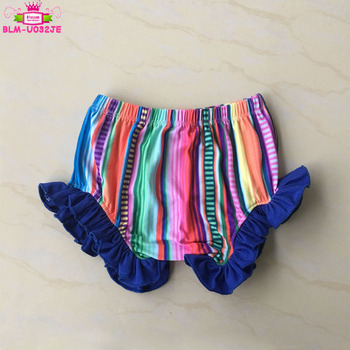 Yiwu Factory Wholesale Serape Pattern Bloomers Match Navy Blue Ruffle Unisex Boys And Girls Bummies