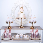 metal round gold silver tier mini beaded cake stand wedding decoration mirror acrylic cup cake rack sets topper afternoon tea