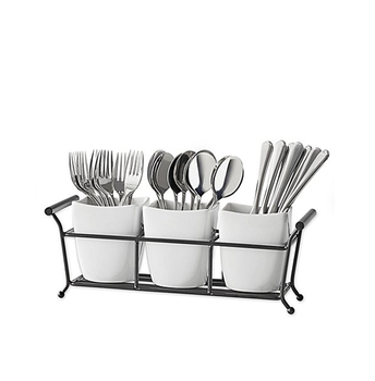 New Products White Ceramic Restaurant Cutlery Holder Kitchen Utensil Holder  With Iron Stand - Buy Utensil Holder,Kitchen Utensil Holder,Restaurant ...