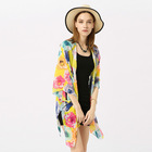 New Beach Flowers Women Long Kaftan Bikini Cover Up