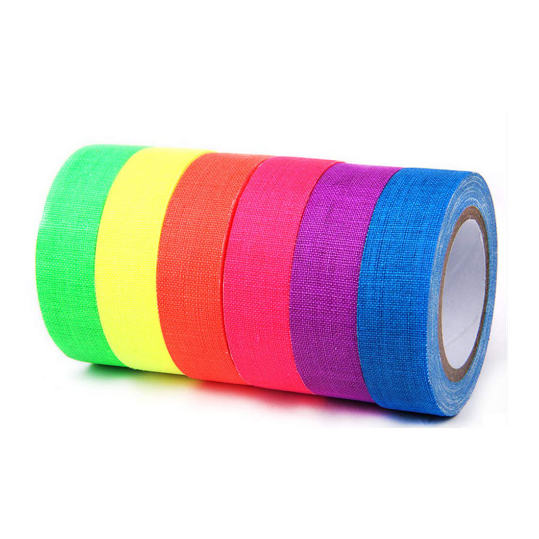 EONBON Free Samples UV Blacklight Reactive Neon Fluorescent Duct Gaffer Tape for Party Decoration