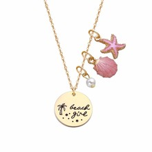 Mode-sieraden Roze gold Sea Shell Aquatic <span class=keywords><strong>Strand</strong></span> Charms Ocean Star Ketting