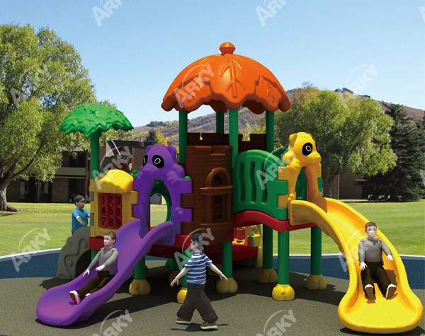 Popular children games plastic playground slide, soft playground equipment